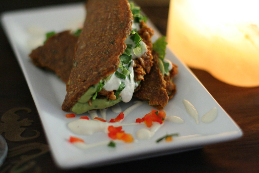 Tacos with non-fried Beans, Guacamole, Sour Cream